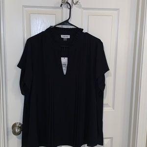Calvin Klein Pleat Front Blouse | 1X